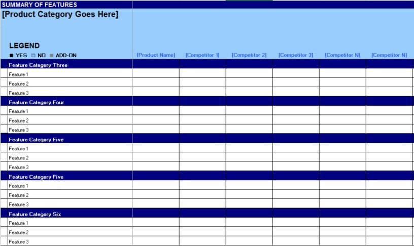 Comparison Chart Template Excel Free Petitive Matrix Feature Parison Chart