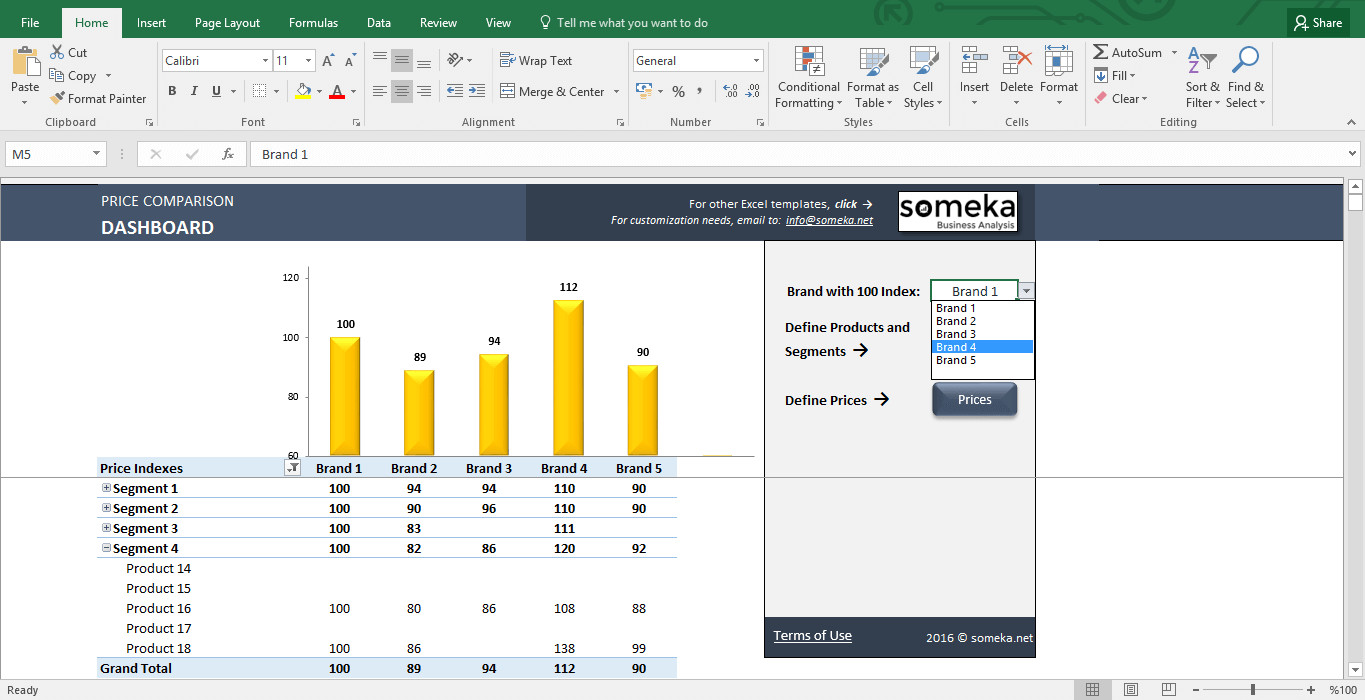 Comparison Chart Template Excel Price Parison and Analysis Excel Template for Small