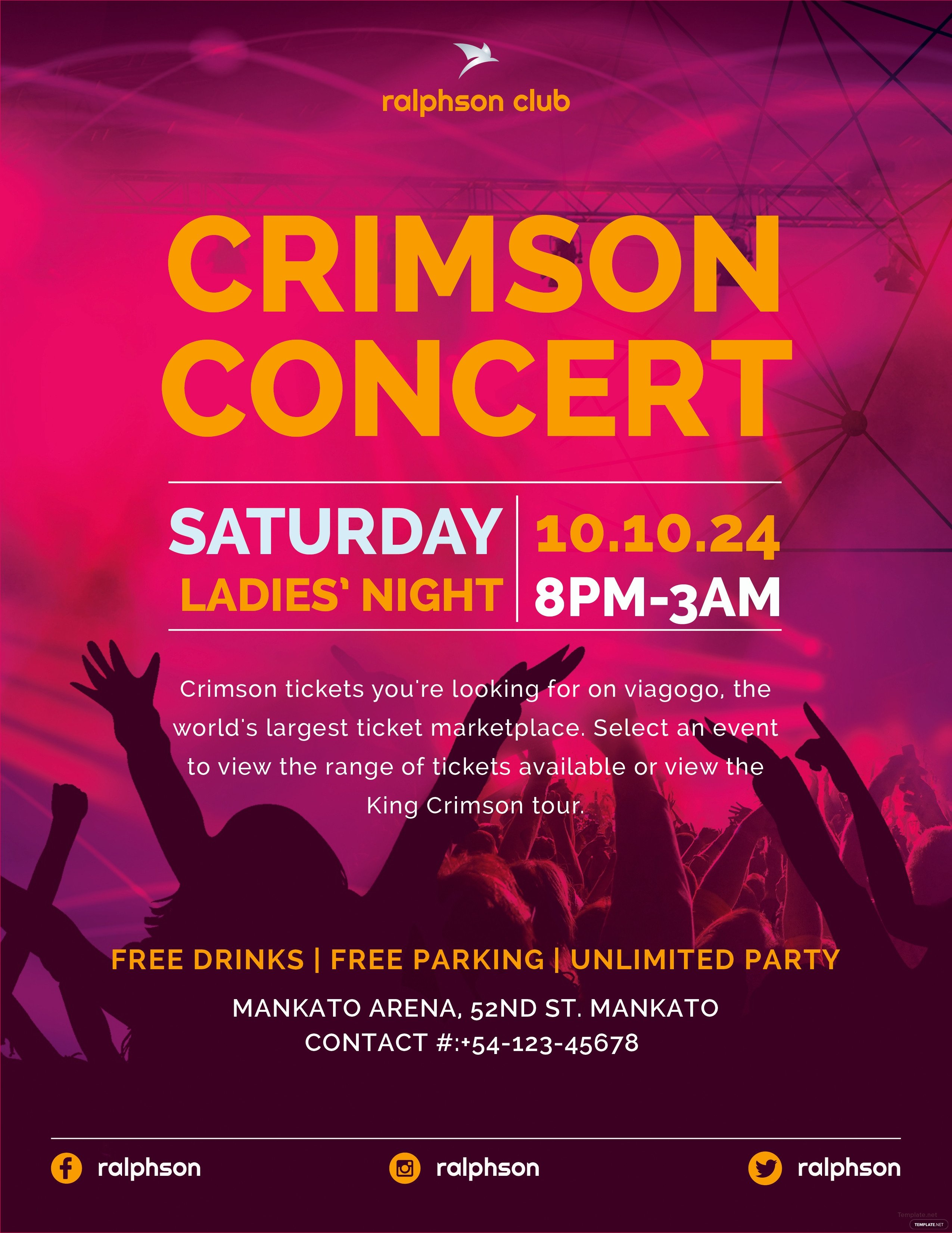 Concert Flyers Template Free Free Crimson Concert Flyer Template In Adobe Illustrator