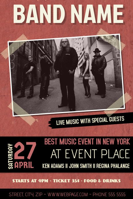 Concert Flyers Template Free Red In Band Concert event Flyer Template with Picture