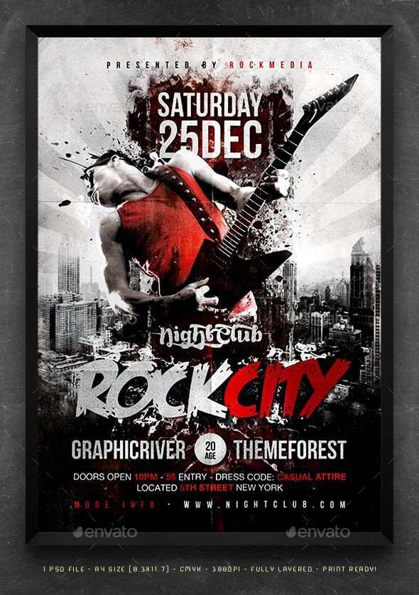 Concert Flyers Template Free Rock City Concert Flyer Poster by Fadeink Rockcity