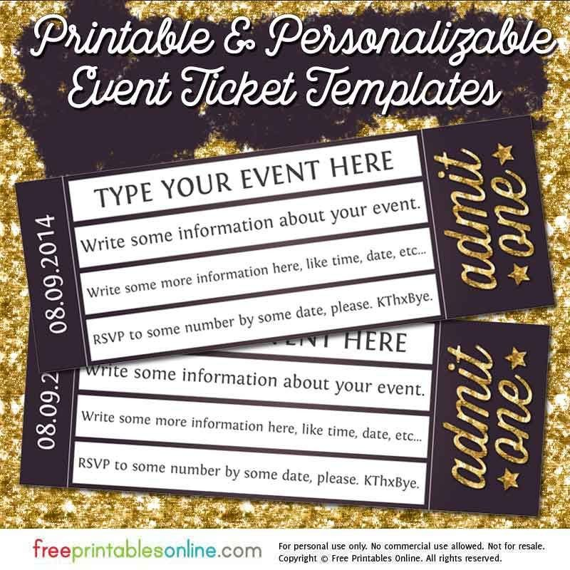 Concert Ticket Template Free Printable Admit E Gold event Ticket Template Free Printables