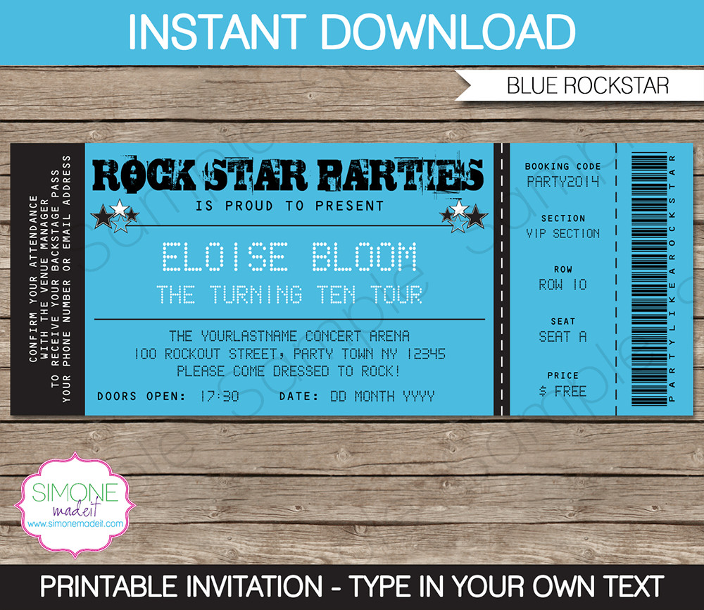 Concert Ticket Template Free Printable Concert Ticket Templates Free Printable