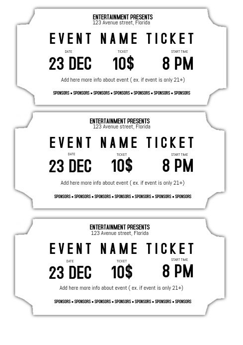 Concert Ticket Template Free Printable event Ticket Template Black and White Printable