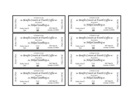 Concert Ticket Template Free Printable event Tickets