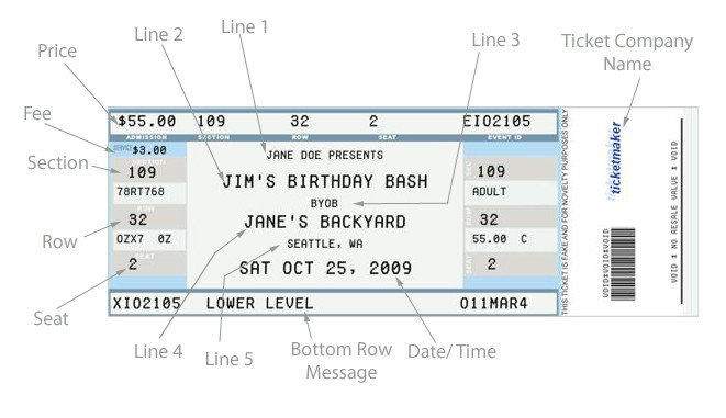 Concert Ticket Template Free Printable Fake Concert Ticket Generator