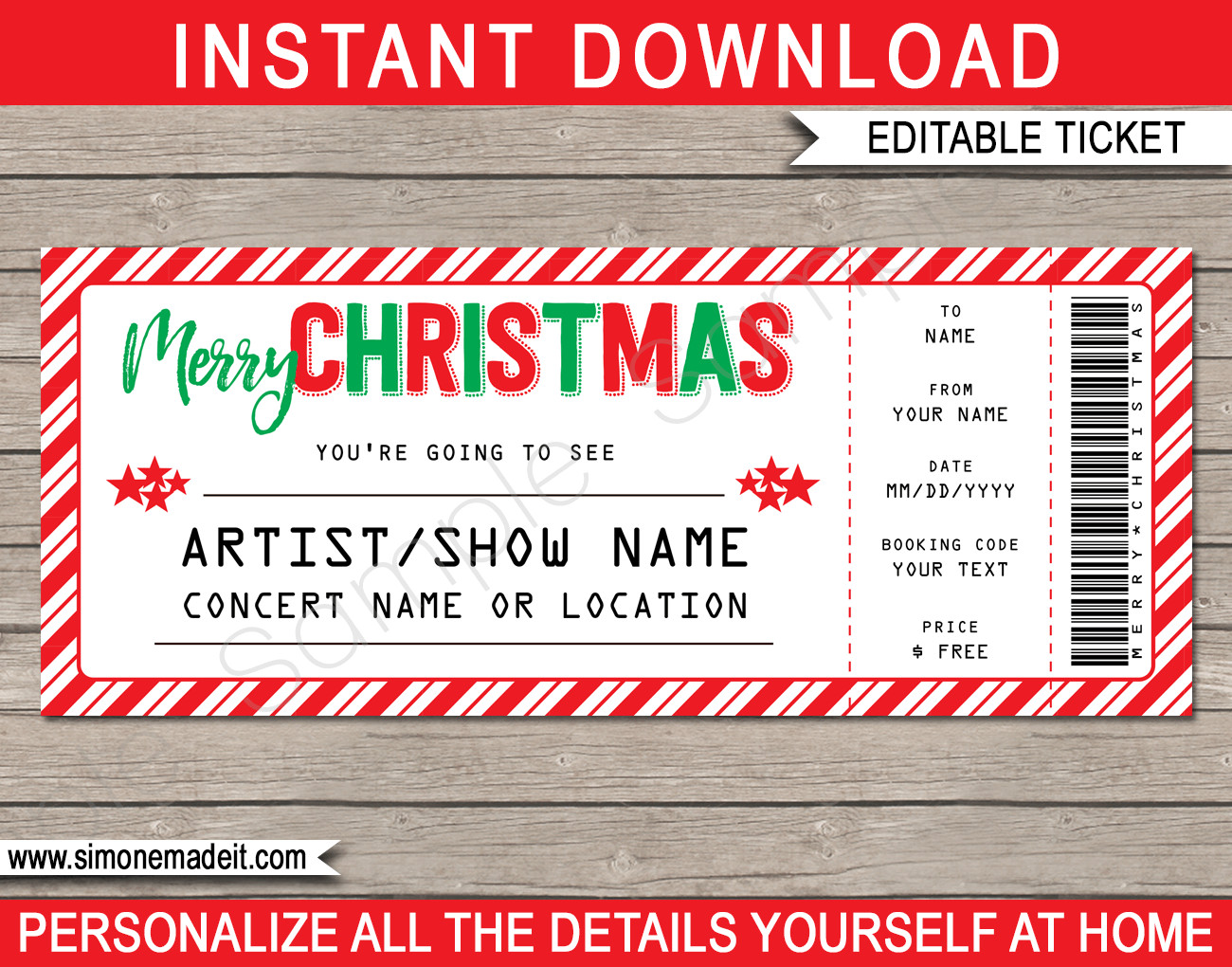 Concert Ticket Template Free Printable Printable Christmas Gift Concert Ticket Template