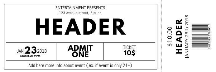 Concert Ticket Template Word Black and White Free Concert event Ticket Template