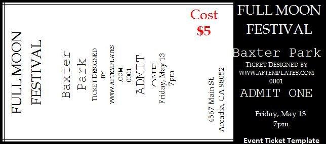 Concert Ticket Template Word Concert Ticket Template