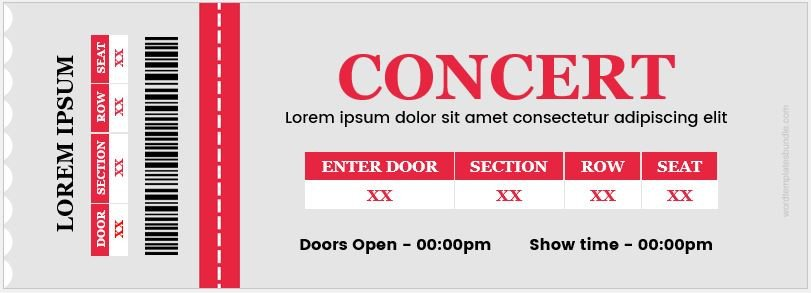 Concert Ticket Template Word Concert Ticket Templates for Ms Word