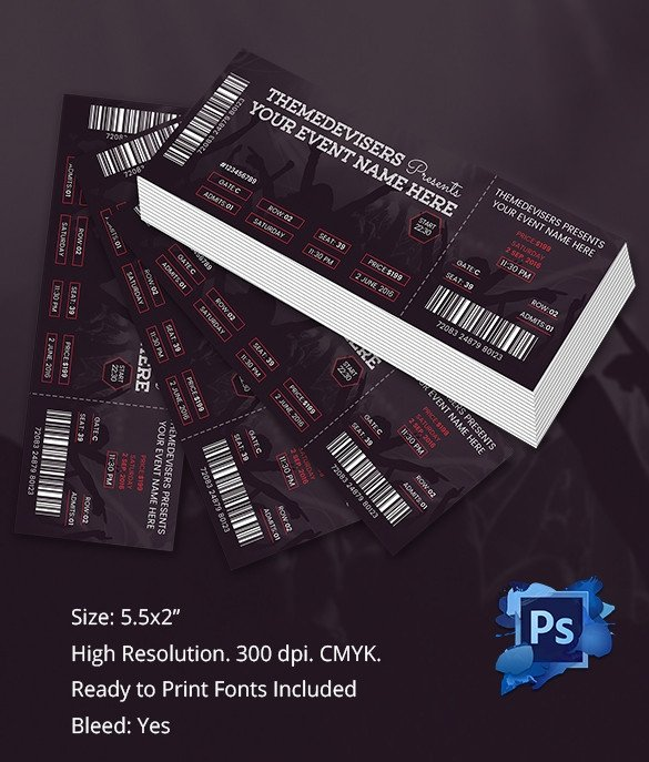 Concert Ticket Template Word Ticket Template – 91 Free Word Excel Pdf Psd Eps