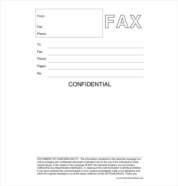 Confidentiality Fax Cover Sheet 12 Confidential Cover Sheet Templates – Free Sample