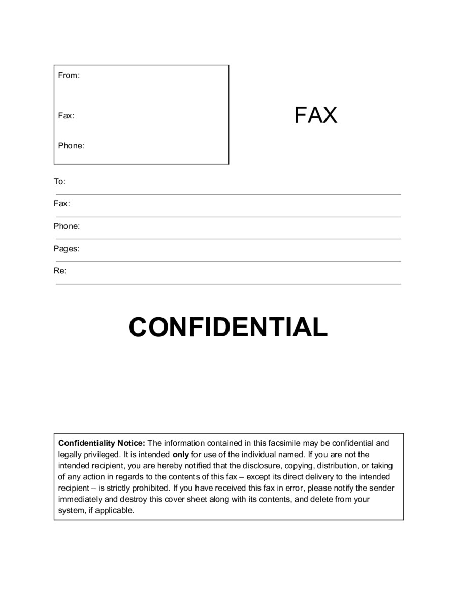 Confidentiality Fax Cover Sheet 2019 Fax Cover Sheet Template Fillable Printable Pdf
