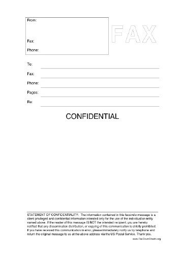 Confidentiality Fax Cover Sheet Confidential Fax Cover Sheet at Freefaxcoversheets