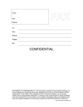 Confidentiality Fax Cover Sheet Confidential Fax Cover Sheet Open Fice Template