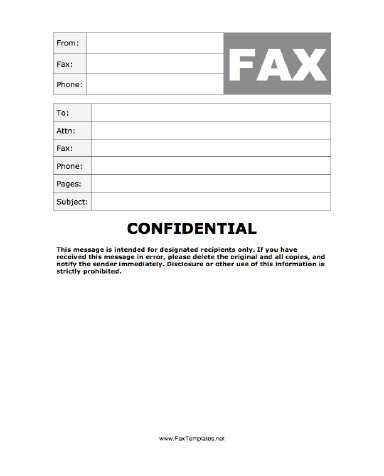 Confidentiality Fax Cover Sheet Confidential Fax Template