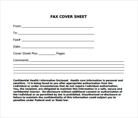Confidentiality Fax Cover Sheet Sample Standard Fax Cover Sheet – 11 Documents In Word Pdf