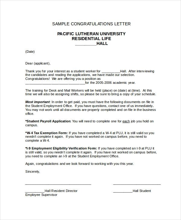 Congratulation Letter On Achievement Congratulations Letter Template 12 Free Word Document