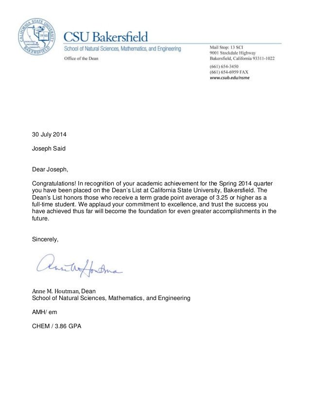 Congratulation Letter On Achievement Dean S List Letter