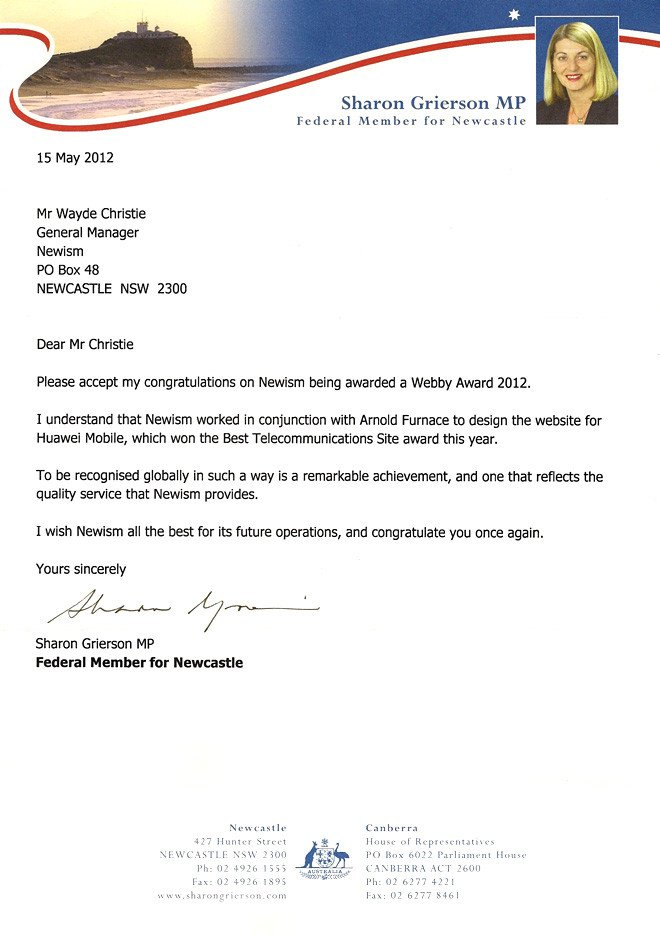 Congratulation Letter On Achievement Huawei Wins A Webby Newism Newcastle Web Design