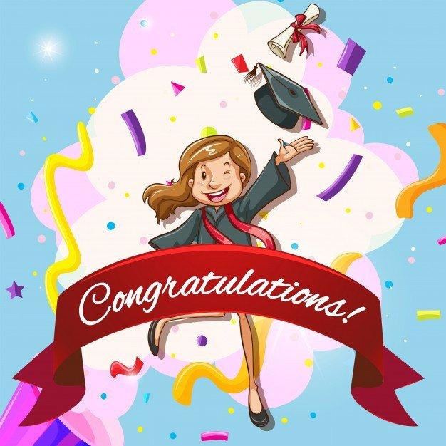 Congratulations Graduation Card Template Card Template for Congratulations with Woman In Graduation
