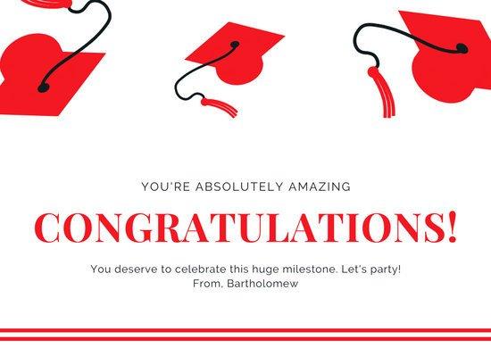 Congratulations Graduation Card Template Customize 93 Congratulations Card Templates Online Canva