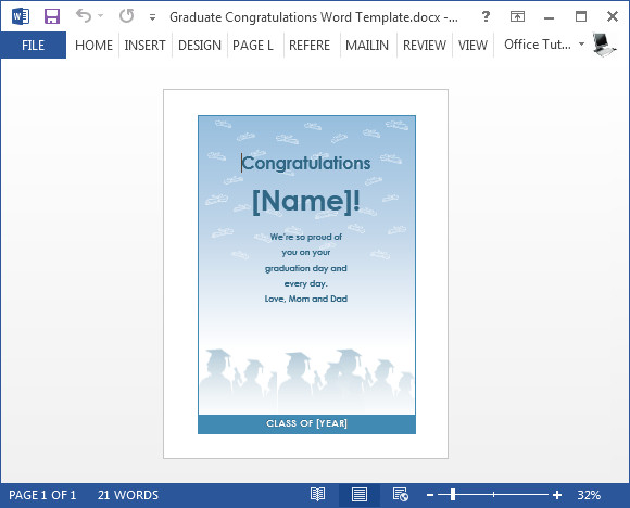 Congratulations Graduation Card Template Free Graduation Congratulations Card Template for Word