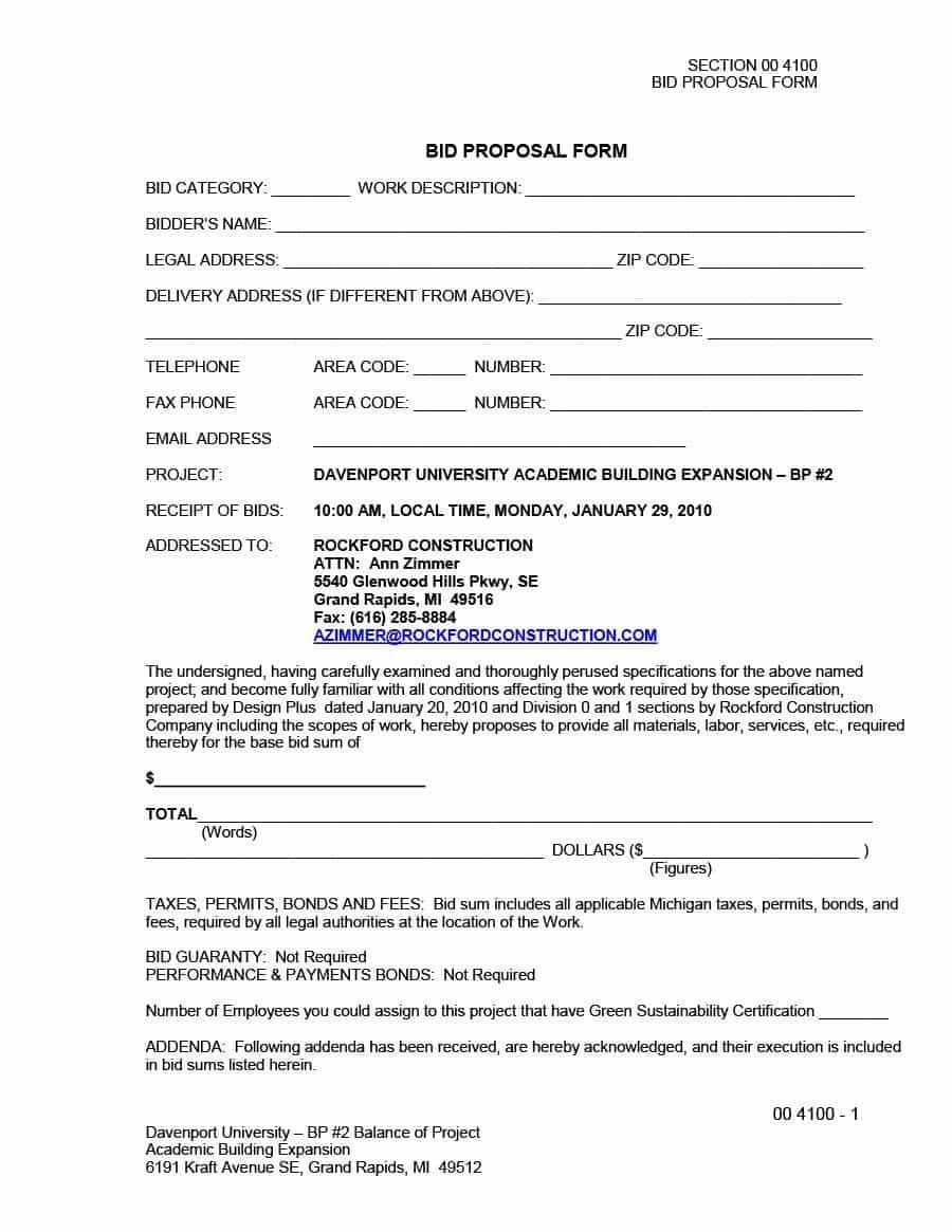 Construction Bid Proposal Template 31 Construction Proposal Template & Construction Bid forms