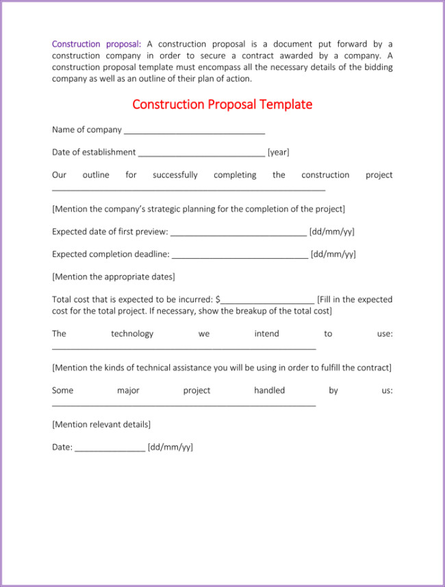 Construction Bid Proposal Template Construction Proposal Template 4 Best Sample