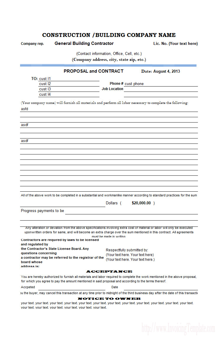 Construction Bid Proposal Template Construction Proposal Template