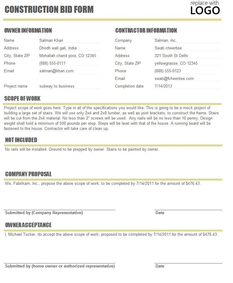 Construction Bid Proposal Template Free Construction Time and Material forms