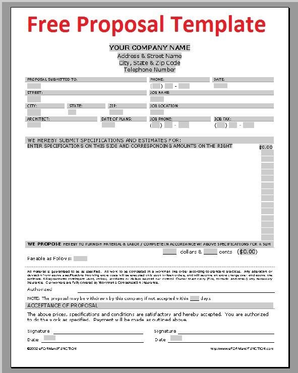 Construction Bid Proposal Template Printable Sample Construction Proposal Template form