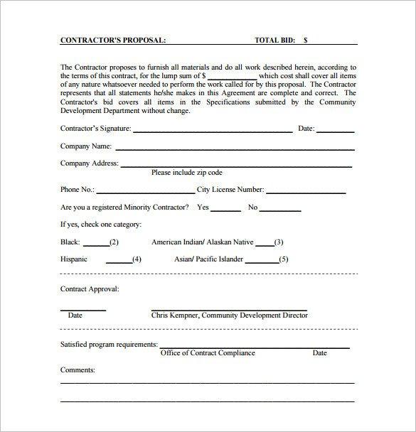 Construction Bid Proposal Template Proposal Templates 170 Free Word Pdf format Download