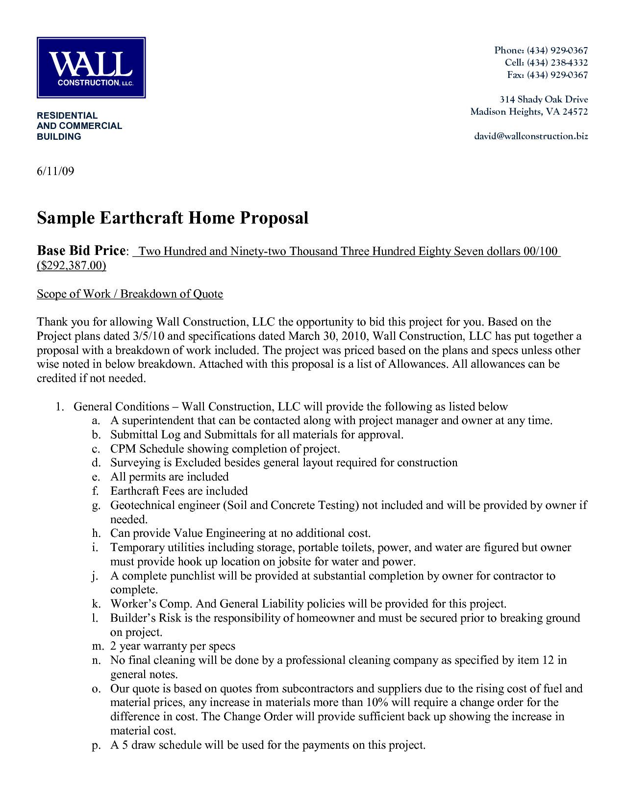 Construction Bid Proposal Template Sample Construction Quote Template Construction Proposal