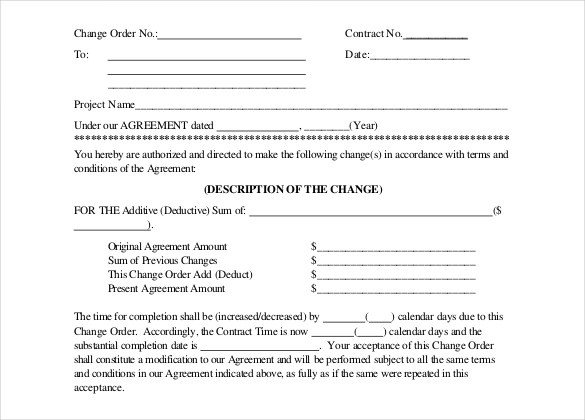 Construction Change order form 14 Construction order Templates – Free Sample Example