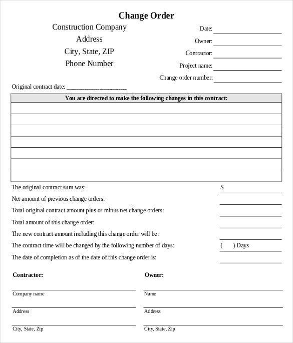 Construction Change order form 24 Change order Templates Pdf Doc
