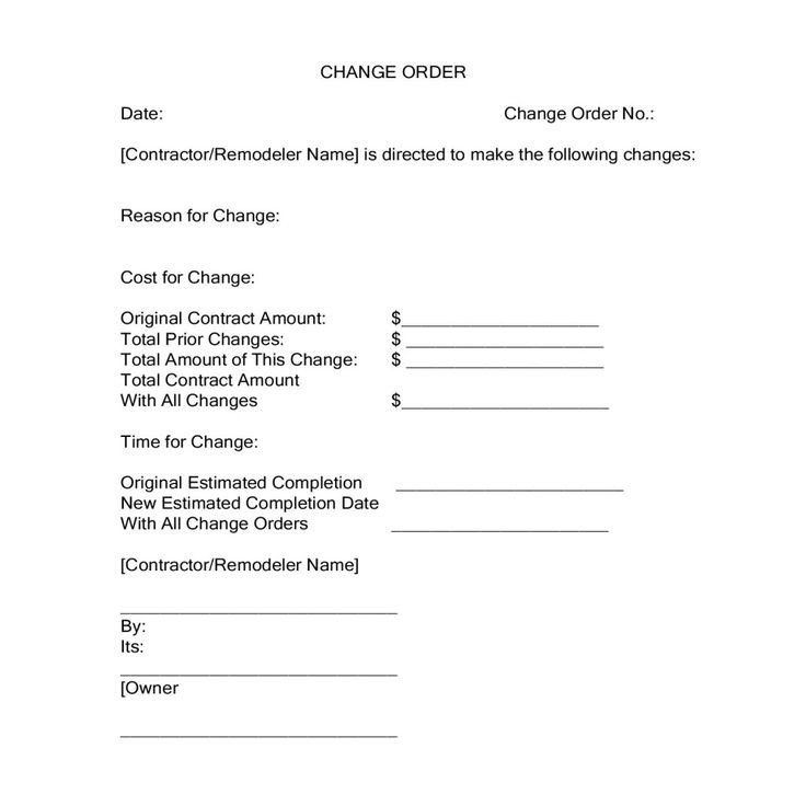 Construction Change order form Change orders During A Construction Project
