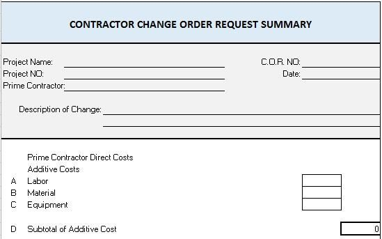 Construction Change order form Free Construction Project Management Templates In Excel