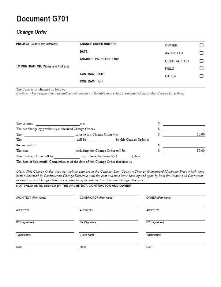 Construction Change order form G701 Change order Cms