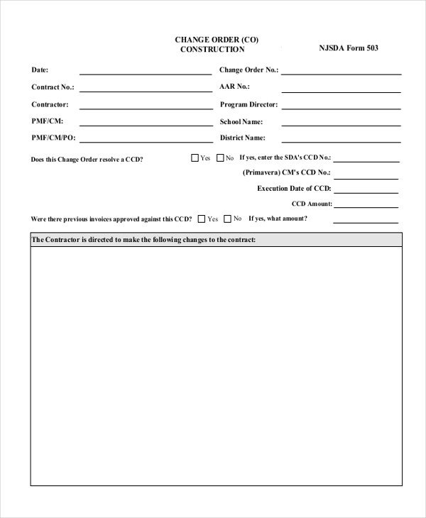 Construction Change order form Sample Change order form 9 Free Documents In Doc Pdf