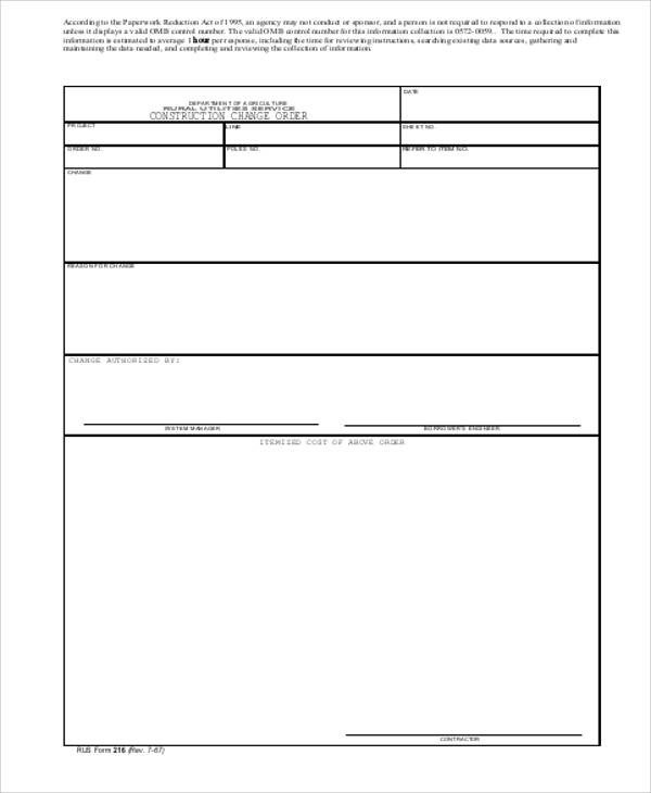 Construction Change order form Sample Change order Request form 9 Examples In Word Pdf