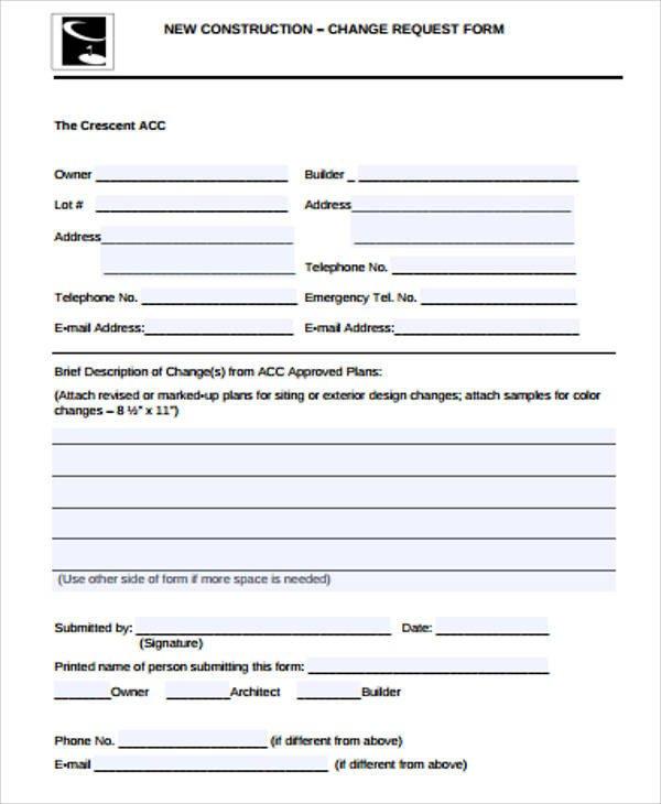 Construction Change order form Sample Construction Change order form 7 Examples In