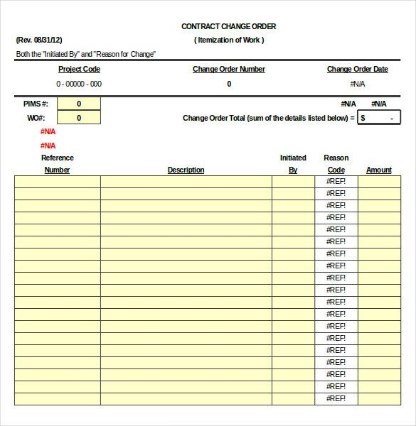 Construction Change order Template Excel Construction order Template – 10 Free Excel Pdf