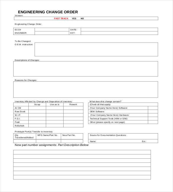 Construction Change order Template Excel Engineering Change order Template