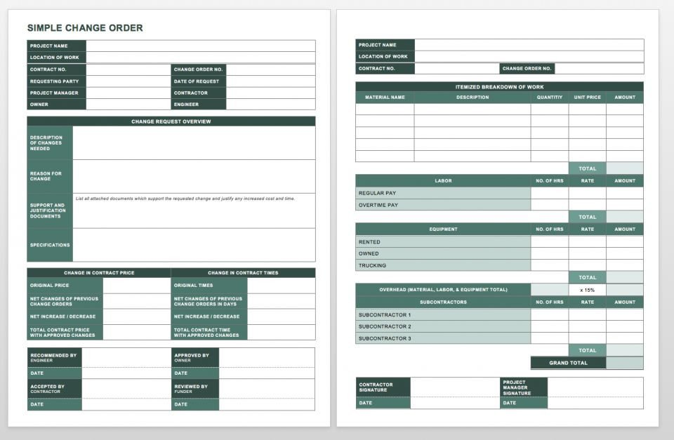 Construction Change order Template Excel Plete Collection Of Free Change order forms