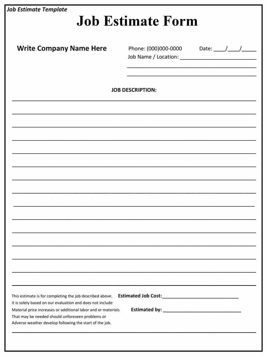 Construction Estimate Template Word 44 Free Estimate Template forms [construction Repair