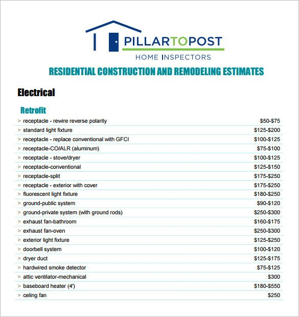 Construction Estimate Template Word Free Contractor Estimate forms