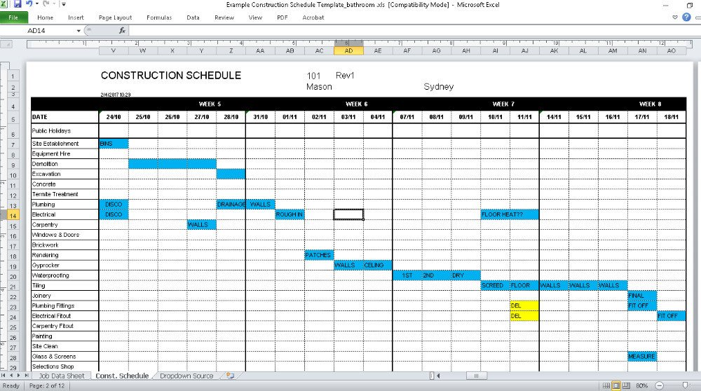 Construction Finish Schedule Template Construction Schedule Template