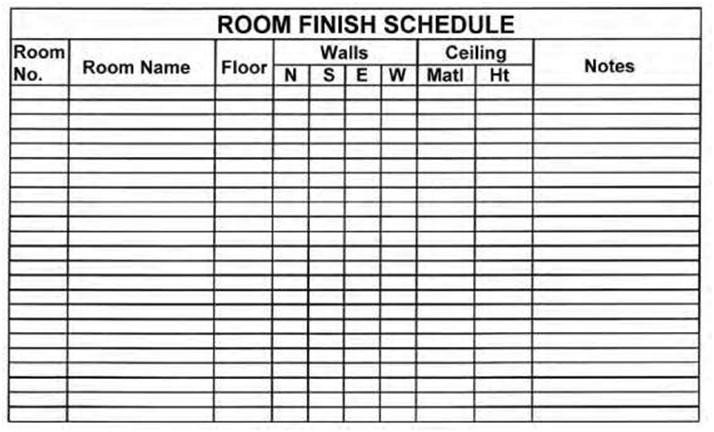 Construction Finish Schedule Template Door Schedule Definition & Style Manager Classifications