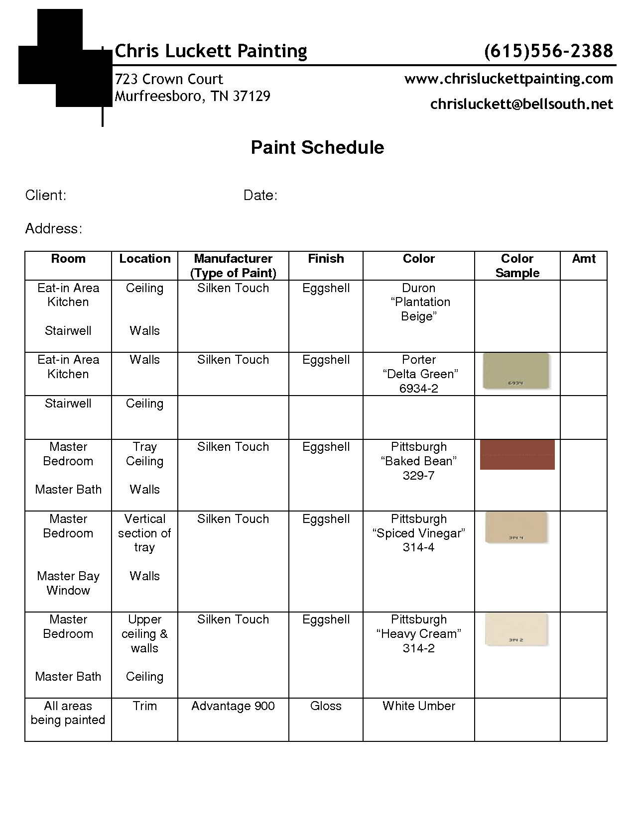 Construction Finish Schedule Template Paint Schedule Example Guidelines In 2019
